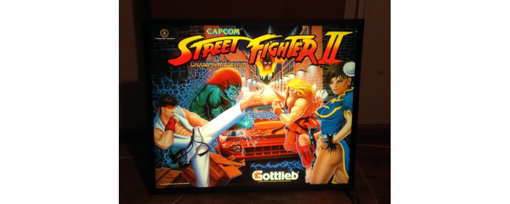 Street Fighter II Champion Edition - Original Pinball Marquee - Lightbox - Capcom