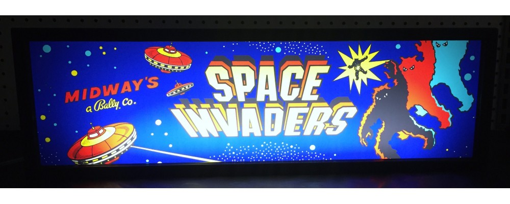 Space Invaders Arcade Marquee - Lightbox - Bally / Midway