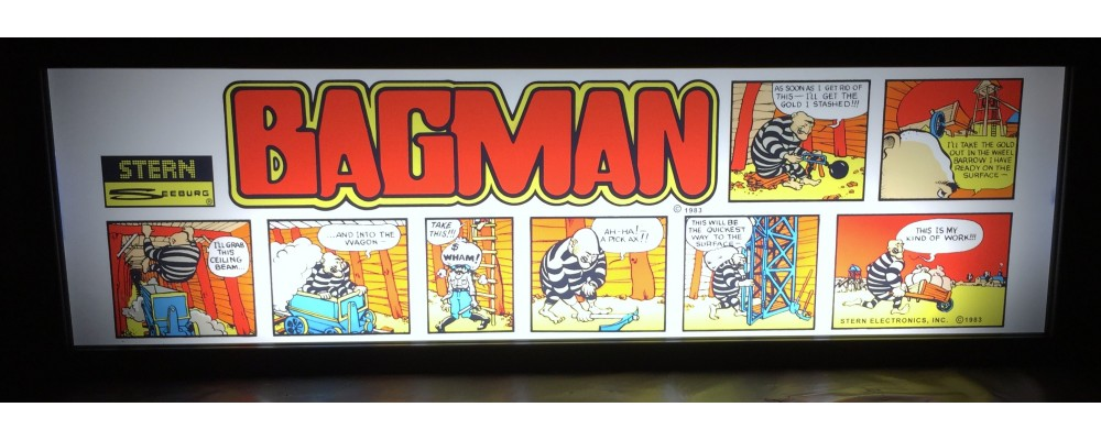 Bagman Arcade Marquee - Lightbox - Stern