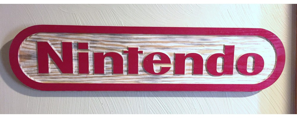 Nintendo Carved Wood Display Sign  - Wall Art  - Nintendo