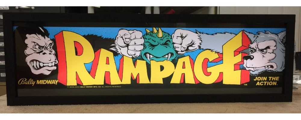 Rampage Arcade Marquee - Lightbox - Bally/Midway